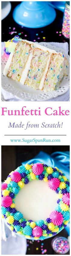 This is the best Funfetti Cake ever, and it's made from scratch!  from http://SugarSpunRun.com