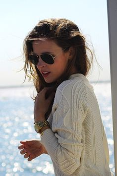 aviators + cable knit