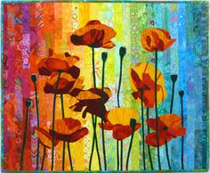 More and More Red Poppies art quilt by Lenore Crawford