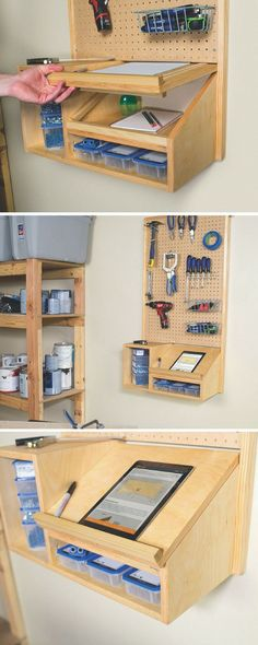 Work space organization - Keeping your workspace organized is always a challenge, but small tools can be kept tidy and categorized workspace organizing garage tidy Workshop Design, Workshop Storage, Workshop Organization, Garage Workshop, Tool Storage, Garage Storage, Storage Ideas, Storage Center, Workshop Ideas