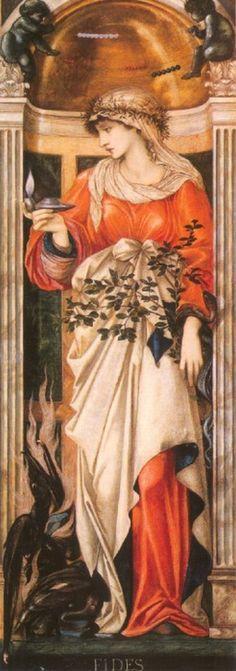 Fides by Sir Edward Burne-Jones (late pre-raphaelite) A4 Poster, Poster Prints, Pre Raphaelite Paintings, Edward Burne Jones, Pre Raphaelite Brotherhood, John Everett Millais, John William Waterhouse, Arts And Crafts Movement, Vintage Artwork
