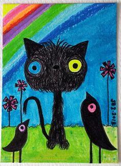 ACEO Original Big Eye Black Cat Black Crows Meetng After The Rainbow