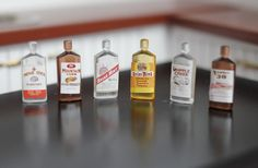 ❤ Accessories Dollhouse miniature Flask Bottles of the whiskey set  Wine ❤ 6PCS