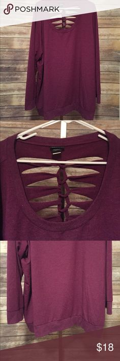 """Torrid Plus Size Burgundy Razor Cut Sweater 5 Gorgeous wine/burgundy Torrid Sweater. Unique razor cut knotted design on the back. Size 5. Long sweater with long sleeves. Measurements below.   🎀Brand: Torrid  🎀Condition: EUC, no stains, rips, holes. Wrinkles may occur during shipment.  🎀Color: Burgundy/Wine  🎀Length: 32""""  🎀Width (armpit-armpit) 28 1/2"""".  🎀Measurements are approximate.  🎀59% Rayon, 37% Polyester, 4% Spandex. torrid Sweaters"""