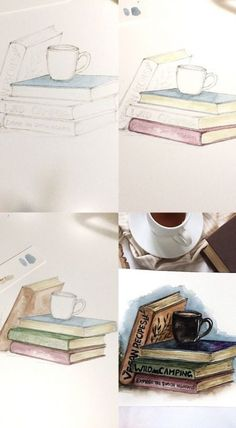 Mini step by step tutorial with process photos of a watercolor painting of books. Mini step by step tutorial with process photos of a watercolor painting of books. Watercolor Books, Watercolor Animals, Abstract Watercolor, Watercolor Paintings, Simple Watercolor, Tattoo Watercolor, Watercolor Trees, Watercolor Background, Watercolor Landscape