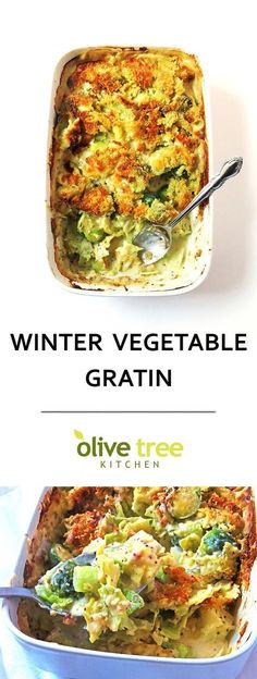A creamy Winter Vegetable Gratin full of nutritious green veggies in a cheesy white sauce. A perfect side dish. Yum!