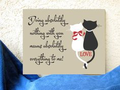 Cat Silhouettes Love Doing Nothing Means Everything Quote 16 x 20 Hand Painted Art Canvas Wall Decor