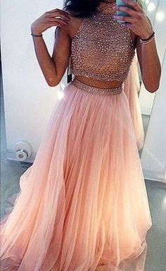 Two Pieces Prom Dresses Ball Gown High Neck With Rhinestones Beaded 2 Pieces Pink Tulle Prom Gown