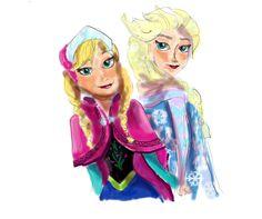 Anna et Elsa : coloriage Reine des neiges