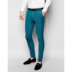 ASOS Super Skinny Suit Pants In Turquoise ($41) ❤ liked on Polyvore featuring men's fashion, men's clothing, men's pants, men's dress pants, blue, mens zipper pants, mens blue dress pants, mens skinny dress pants, mens zip off pants and mens skinny fit dress pants