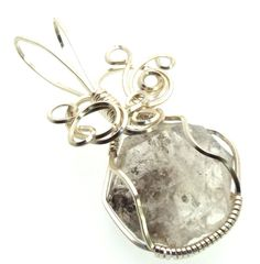 Herkimer Diamond Wire Wrapped Crystal Gem Pendant 17