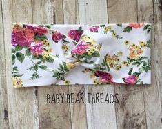 Bianco classico floreale - turbante testa Wrap - Fascia del bambino - Jersey maglia