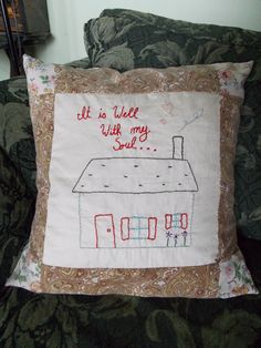 Hand embroidered pillow made by content sew Embroidered Pillows, Feather Pillows, Pillow Inserts, Hand Sewing, How To Draw Hands, Content, Throw Pillows, Crafty, Embroidery