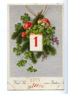 Mushroom good luck clover new year's card Vintage Ephemera, Vintage Cards, Vintage Postcards, Good Luck Clover, Christmas And New Year, Xmas, New Years Eve Day, Happy New Year Cards, New Years Decorations