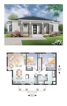 Modern House Plan 76437 | Total Living Area: 1007 sq. ft., 2 bedrooms and 1 bathroom. #modernhome