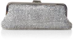BCBG Rue Rue Clutch Evening Bag,Silver,One Size.