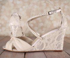 Ivory Wedding Shoes Lace Wedge Wedding by EllieWrenWeddingShoe