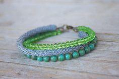 Bracciale perline grigio verde - fili multipli-