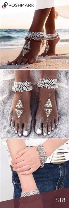 Silver Anklet / Bracelet Beach Foot Jewelry Set Set of 2 Silver Anklet / Bracelet Gypsy Beach Style Foot Jewelry. Jewelry Bracelets