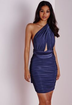 Do Me Any Way Multiway Slinky Bodycon Dress Blue - Dresses - Multiway Dresses - Missguided