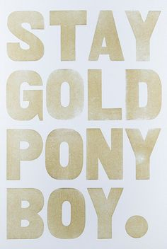 Stay Gold Pony Boy by Union Press. One of my favorite books growing up: The Outsiders by S. Movie Quotes, Book Quotes, Words Quotes, Wise Words, Sayings, Affordable Art, Mellow Yellow, Beautiful Words, Inspire Me
