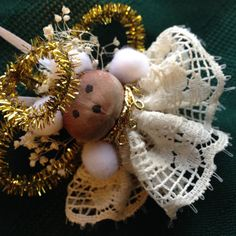 Angel Christmas Ornament Teddy Bear Lacy White by TimelessValley