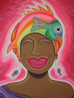 Meisje met vis roze(Mujer cu piska pink)