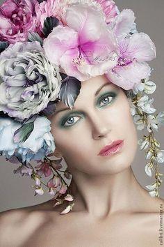 """Шапки ручной работы. Ярмарка Мастеров - ручная работа. Купить Цветочная шапка - """"FloWear"""". Цветы из шелка.. Handmade. Розовый, гибискус"""