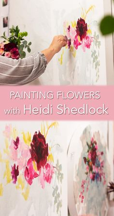Floral paintings by South African Artist Heidi Shedlock in her studio in Durban. South African Artists, Painting Process, Online Art Gallery, Floral Paintings, Studio, Florals, Insight, Beautiful, Floral