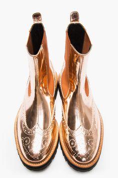 ::: JUUN.J Copper Patent Leather Chelsea Wingtip Brogue Boots