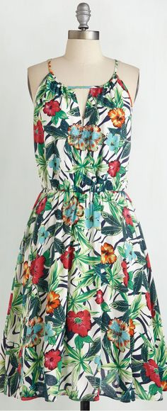 pleated retro floral dress