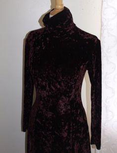 Henri-Bendel-Vintage-Mod-Crushed-Velvet-Stretch-T-Neck-Long-Sleeve-Dress-Sz-S-5