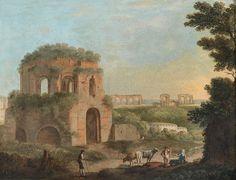 Paolo Anesi veduta con il tempio di minerva medica e un acquedotto