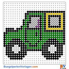 Fahrzeug Bügelperlen Vorlage. Auf buegelperlenvorlagen.com kannst du eine große Auswahl an Bügelperlen Vorlagen in PDF Format kostenlos herunterladen und ausdrucken.