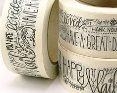SHOP EXCLUSIVE - Happy Mail masking tape - Floral & Fauna handlettered design - thank you, have a great day, you are loved - 55 yards Cool Packaging, Custom Packaging, Custom Labels, Gift Packaging, Packaging Design, Branding Design, Stationary Supplies, Bee Boxes, Logo Stamp