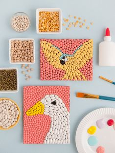 Bean Art Animals Inspired by Dolittle ⋆ Handmade Charlotte art ideas Bean Art Animals Inspired by Dolittle Book Crafts, Crafts To Do, Crafts For Kids, Arts And Crafts, Paper Crafts, Animal Art Projects, Animal Crafts, Craft Projects, Montessori Art