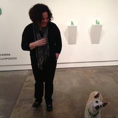 Irianna Kanellopoulou at her exhibition opening with Gemma the dog!