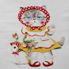 Cotton Panel Craft Fabric Dressed Cute Retro Chic Cat Vintage Toy TV Bird Rabbit   eBay