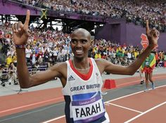 Britain's Mo Farah celebrates after winning gold in the men's final during the athletics in the Olympic Stadium at the 2012 Summer Olympics, London, Saturday, Aug. Nbc Olympics, 2012 Summer Olympics, Alberto Salazar, Mo Farah, Live Matches, World Of Sports, Track And Field, Olympic Games, Great Britain