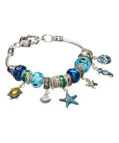 Another great find on #zulily! Blue & Silvertone Nautical Charm Bracelet #zulilyfinds