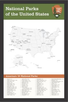 This is a handsome, ready-to-frame print featuring a map and checklist of the 59 national parks in the US. This is my original design and is not