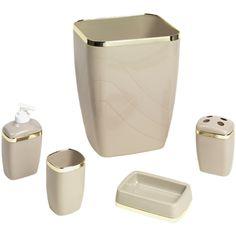 5-Piece Plastic Bath Accessory Set, Linen