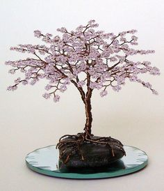 Mini Blossom Beaded Bonsai Wire Tree Sculpture by Creativecravings.deviantart.com on @deviantART