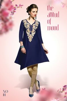 Designer party wear satin cambric blue kurti with work 11