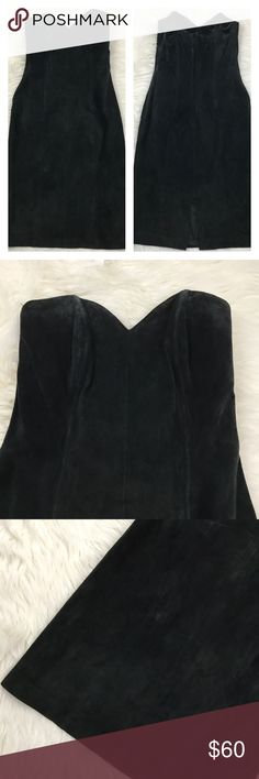 Vintage Vamp Black Suede Strapless BodyCon Dress 😱😱beautiful, vampy, edgy and sexy strapless pointed sweetheart neckline 100% Suede made in Korea dress. Fitted with boning on the bodice. Zipper back enclosure and back slit. Suede is in great vintage condition minor marks on suede and that's it. It's definitely from 70s/80s so I would recommend dry cleaning before use. Armpit to armpit: 15.75 inches when stretched taut Length from armpit:  30 inches Vintage Dresses Mini