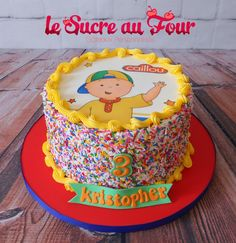Caillou cake, edible images and spinkles