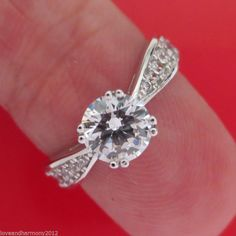 1.50ct Round Idealcut Solitaire with Accents Engagement Ring 14K white Gold sz 7