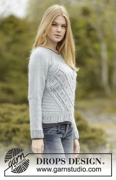 """Knitted DROPS jumper with lace pattern, raglan and cables, worked top down in """"Alpaca"""" and """"Kid-Silk"""". Size: S - XXXL. ~ DROPS Design"""