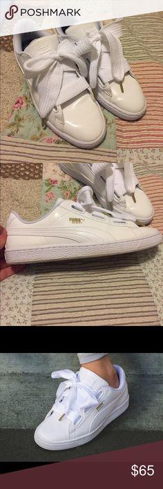 pick up 095a8 148c3 Puma Basket Heart Patent White Puma Basket Heart patent white shoes. Size  10. Big