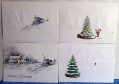 Vintage 4 National Roadroad Museum Christmas Card Samples #32 c1